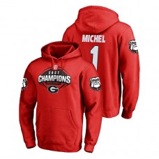 Georgia Bulldogs #1 Red Sony Michel Fanatics Branded 2018 SEC East Division Champions College Football Hoodie