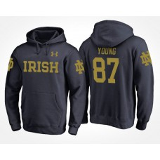 Notre Dame Fighting Irish College Team #87 Michael Young Name And Number Hoodie