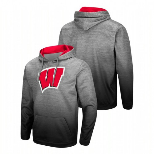 Wisconsin Badgers Heathered Gray Sitwell Sublimated Pullover College Football Hoodie