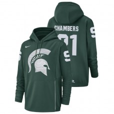 Michigan State Spartans #21 Green Cam Chambers Champ Drive Football Performance College Football Hoodie