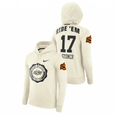 Oklahoma State Cowboys #17 Cream Dillon Stoner College Football Rival Therma Pullover Hoodie