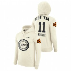Oklahoma State Cowboys #11 Cream Keondre Wudtee College Football Rival Therma Pullover Hoodie