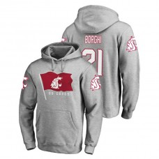 Washington State Cougars #21 Heathered Gray Max Borghi Fanatics Branded Hometown Collection College Football Hoodie