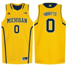 Michigan Wolverines #0 Brent Hibbitts Gold College Basketball Jersey