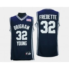BYU Cougars #32 Jimmer Fredette Navy Road College Basketball Jersey