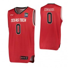 Texas Tech Red Raiders #0 Kyler Edwards Red 2019 Final Four College Basketball Jersey