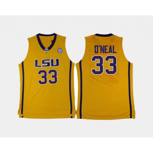 LSU Tigers #33 Shaquille O'Neal Gold Home College Basketball Jersey