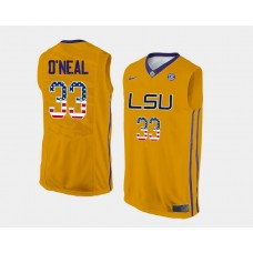 LSU Tigers #33 Shaquille O'Neal Gold Home USA Flag College Basketball Jersey
