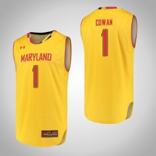 Maryland Terrapins #1 Anthony Cowan Yellow College Basketball Jersey
