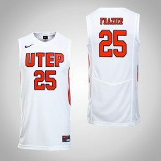 UTEP Miners #25 Keith Frazier White College Basketball Jersey