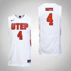UTEP Miners #4 Tirus Smith White College Basketball Jersey