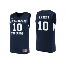 BYU Cougars #10 Ryan Andrus Navy College Basketball Jersey
