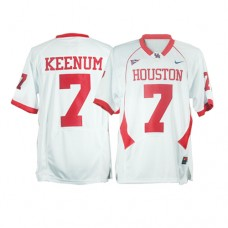 Houston Cougars #7 Case Keenum White With C-USA Patch Replica College Football Jersey