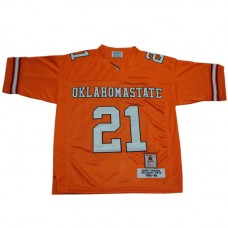 Oklahoma State Cowboys #21 Barry Sanders Orange Authentic Throwback College Football Jersey