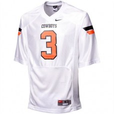 Oklahoma State Cowboys #3 Brandon Weeden White Pro Combat Authentic College Football Jersey