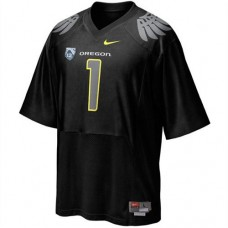 Oregon Ducks #1 Fan Black With PAC-12 Patch Replica College Football Jersey