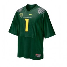 Oregon Ducks #1 Fan Green With PAC-12 Patch Replica College Football Jersey