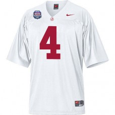 Alabama Crimson Tide #4 Marquis Maze White Authentic With 2012 BCS Championship Patch College Football Jersey