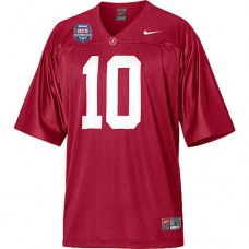 Alabama Crimson Tide #10 AJ McCarron Red Authentic With 2012 BCS Championship Patch College Football Jersey