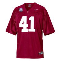 Alabama Crimson Tide #41 Courtney Upshaw Red Authentic With 2012 BCS Championship Patch College Football Jersey