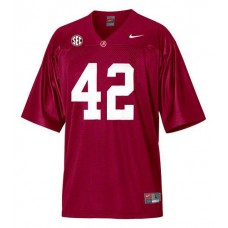 Alabama Crimson Tide #42 Eddie Lacy Red With SEC Patch Authentic College Football Jersey