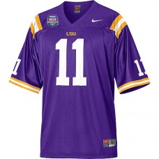 LSU Tigers #11 Spencer Ware Purple Authentic College Football With 2012 BCS Championship Patch Jersey
