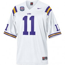 LSU Tigers #11 Spencer Ware White Authentic College Football With 2012 BCS Championship Patch Jersey