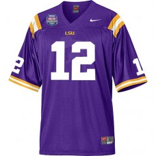 LSU Tigers #12 Jarrett Lee Purple Authentic College Football With 2012 BCS Championship Patch Jersey