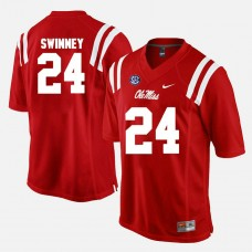 Ole Miss Rebels #24 Eric Swinney Red College Football GAME Jersey